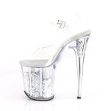 Zilver 20 cm FLAMINGO-808GF glitter plateau schoenen dames met hak