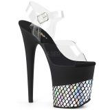 Zilver 20 cm FLAMINGO-808HFN Hologram plateau schoenen dames met hak