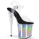 Zilver 20 cm FLAMINGO-808HGI Hologram hoge hakken schoenen pleaser