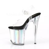 Zilver 20 cm FLAMINGO-808HGI Hologram plateau schoenen dames met hak