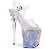 Zilver 20 cm FLAMINGO-808MC Hologram hoge hakken schoenen pleaser