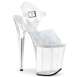 Zilver 20 cm FLAMINGO-808N-CK Hologram hoge hakken schoenen pleaser