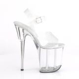 Zilver 20 cm FLAMINGO-808N-CK Hologram plateau schoenen dames met hak