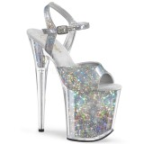 Zilver 20 cm FLAMINGO-809HS Hologram hoge hakken schoenen pleaser