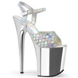 Zilver 20 cm FLAMINGO-809MMRS glitter plateau sandalen met hak