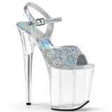 Zilver 20 cm FLAMINGO-809RS Hologram plateau schoenen dames met hak