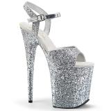 Zilver 20 cm FLAMINGO-810LG glitter hoge hakken schoenen pleaser