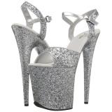 Zilver 20 cm FLAMINGO-810LG glitter plateau schoenen dames met hak