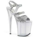 Zilver 20 cm FLAMINGO-874 glitter plateau sandalen met hak