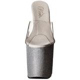 Zilver 20 cm Pleaser FLAMINGO-801SDG Glitter Plateau Hoge Mules