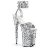 Zilver 23 cm INFINITY-991LG glitter plateau schoenen dames met hak