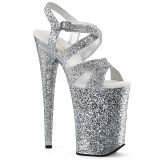 Zilver 23 cm INFINITY-997LG glitter plateau schoenen dames met hak