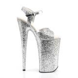 Zilver 25,5 cm BEYOND-010LG glitter plateau hoge hakken