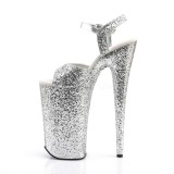 Zilver 25,5 cm BEYOND-010LG glitter plateau schoenen dames met hak