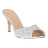 Zilver 8,5 cm LUCY-01 glitter platte slippers dames met hak