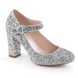 Zilver 9 cm SABRINA-07 pumps schoenen met blokhak
