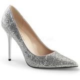 Zilver Glitter 10 cm CLASSIQUE-20 grote maten stilettos schoenen