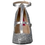 Zilver Glitter 10 cm QUEEN-01 grote maten pumps schoenen