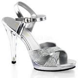 Zilver Glitter 12 cm FLAIR-419G Dames Sandalen met Hak