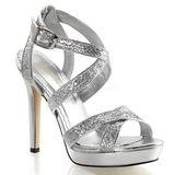 Zilver Glitter 12 cm LUMINA-21 Hoge Avond Sandalen met Hak