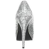 Zilver Glitter 13,5 cm TWINKLE-18G Plateau Pumps Hoge Hak Peep Toe