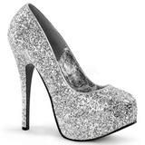 Zilver Glitter 14,5 cm Burlesque BORDELLO TEEZE-06G Plateau Pumps Hoge Hak