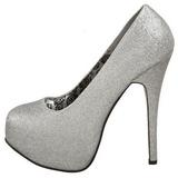 Zilver Glitter 14,5 cm Burlesque TEEZE-31G Platform Pumps Schoenen