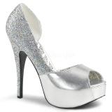 Zilver Glitter 14,5 cm Burlesque TEEZE-41W mannen pumps voor brede voeten