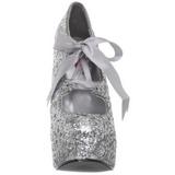Zilver Glitter 14,5 cm TEEZE-10G Platform Pumps Schoenen