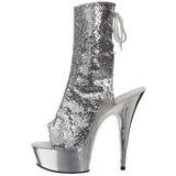 Zilver Glitter 15 cm Pleaser DELIGHT-1018G Plateau Enkellaarzen