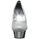 Zilver Glitter 15 cm Pleaser DELIGHT-685G Plateau Pumps Hoge Hak