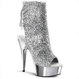 Zilver Glitter 16 cm Pleaser DELIGHT-1018G Plateau Enkellaarzen
