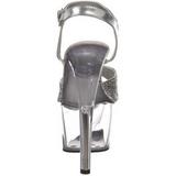 Zilver Glitter 18 cm SKY-310 Plateau Sandalen met Hoge Hak
