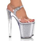 Zilver Glitter 20 cm XTREME-808G Platform Schoenen met Hoge Hakken