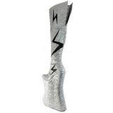 Zilver Glitter 34 cm VIVACIOUS-3016 Overknee Laarzen Drag Queen