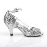 Zilver Glitter 7,5 cm BELLE-381G pumps schoenen open teen