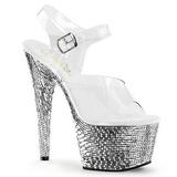 Zilver Kristal Steen 18 cm BEJEWELED-708MR Platform Schoenen met Hoge Hakken