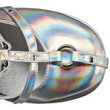 Zilver Kunstleer 13 cm POISON-25-2 lolita enkellaarzen met sleehakken