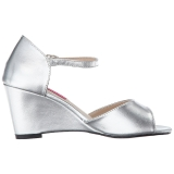 Zilver Kunstleer 7,5 cm KIMBERLY-05 grote maten sandalen dames