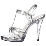 Zilver Lak 12 cm FLAIR-420 Dames Sandalen met Hak