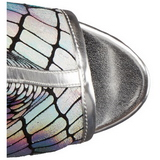 Zilver Lak 15 cm DELIGHT-1018HG dames enkellaarsjes met plateauzool