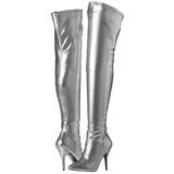 Zilver Mat 13 cm SEDUCE-3000 overknee laarzen met hakken