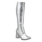 Zilver Mat 8,5 cm GOGO-300 Dameslaarzen met hak voor Heren