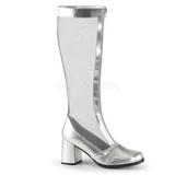 Zilver Mat 8,5 cm GOGO-307 Dameslaarzen met hak voor Heren