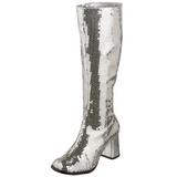 Zilver Pailletten 8 cm SPECTACUL-300SQ Dames Laarzen