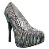 Zilver Strass 14,5 cm Burlesque TEEZE-06RW mannen pumps voor brede voeten
