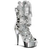 Zilver Suede 15 cm Pleaser DELIGHT-600-36 Hoge Enkellaarzen