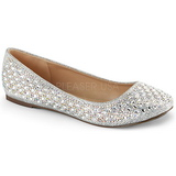 Zilver TREAT-06 kristal steen ballerinas schoenen