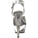 Zilver Transparant 15 cm Pleaser KISS-209 Plateau Hoge Hakken