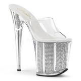 Zilver glimsteen 20 cm FLAMINGO-801SRS dames slippers met hak